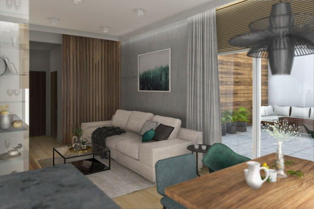 Wizualizacja salonu, widok na sofę i taras - apartament w Rzeszowie, projekt wnętrz, architekt wnętrz, architektura wnętrz, projektowanie wnętrz, Rzeszów