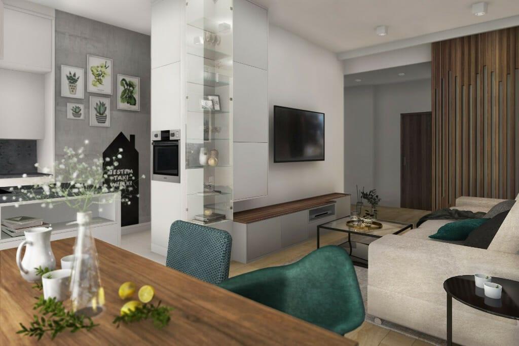 Wizualizacja salonu, widok na Ścianę TV - apartament w Rzeszowie, projekt wnętrz, architekt wnętrz, architektura wnętrz, projektowanie wnętrz, Rzeszów