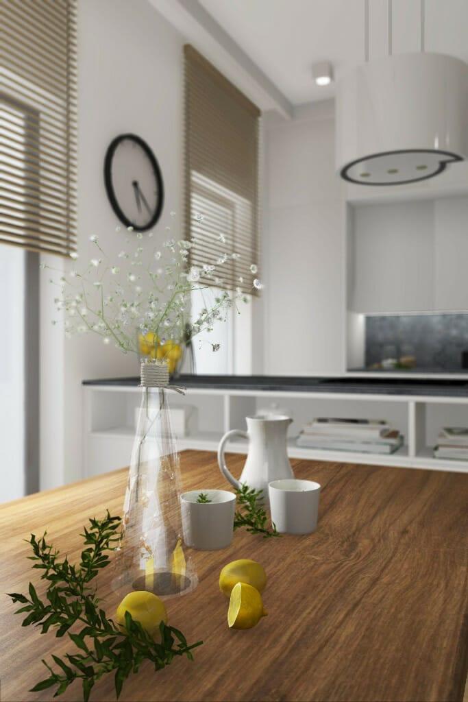 Wizualizacja salonu, widok na stół i okap - apartament w Rzeszowie, projekt wnętrz, architekt wnętrz, architektura wnętrz, projektowanie wnętrz, Rzeszów