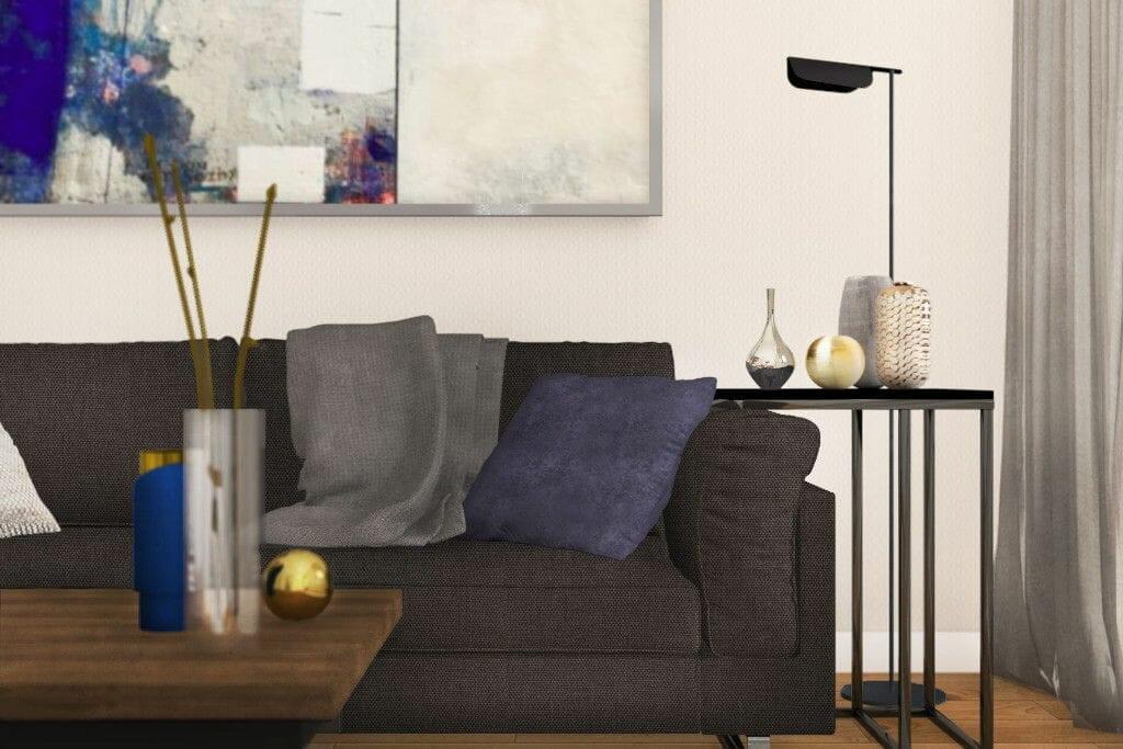 Wizualizacja salonu, zbliżenie na sofę,  Krakow,  pod klucz,  Rzeszow,  projektowanie wnętrz, viva design