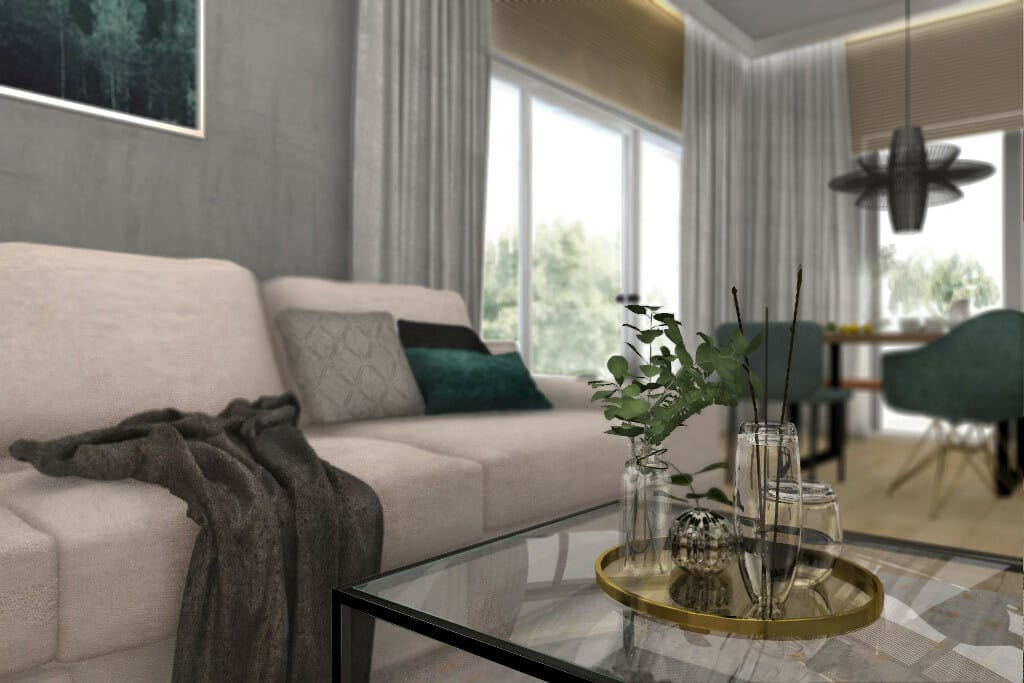 Wizualizacja salonu, widok na stolik kawowy i sofę - apartament w Rzeszowie, projekt wnętrz, architekt wnętrz, architektura wnętrz, projektowanie wnętrz, Rzeszów