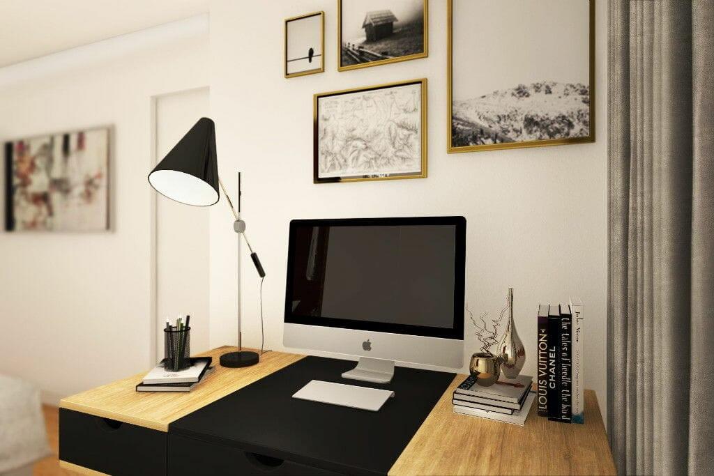 Wizualizacja sypialni, widok na strefę do pracy, Rzeszów, Rzeszow, viva design