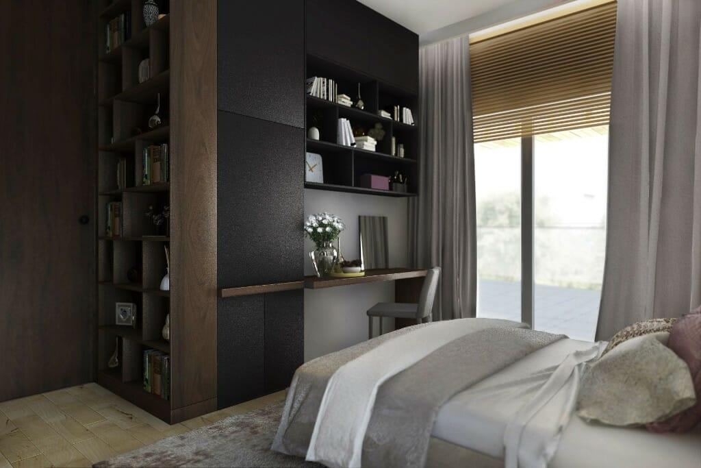 Wizualizacja sypialni, widok na biurko do pracy i zamknięte drzwi - apartament w Rzeszowie, projekt wnętrz, architekt wnętrz, architektura wnętrz, projektowanie wnętrz, Rzeszów