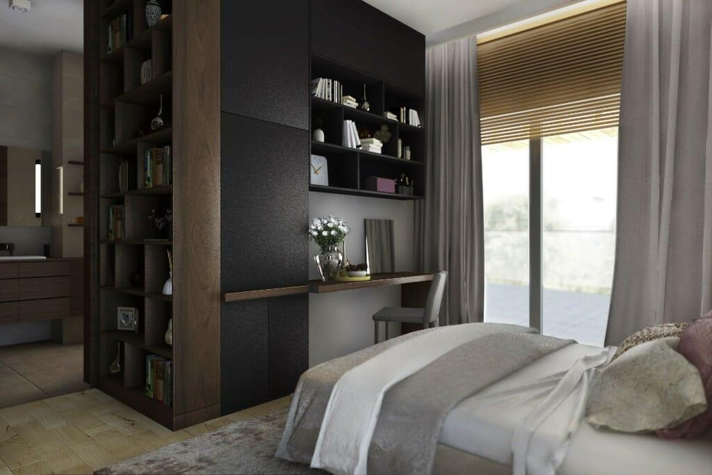 Wizualizacja sypialni, widok na biurko do pracy i otwarte drzwi - apartament w Rzeszowie, projekt wnętrz, architekt wnętrz, architektura wnętrz, projektowanie wnętrz, Rzeszów
