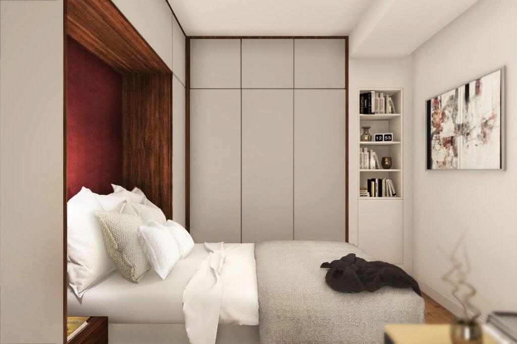 Wizualizacja sypialni, widok na łóżko i szafę, architekt wnetrz, projektowanie wnętrz, Rzeszow, Kraków, architektura wnętrz