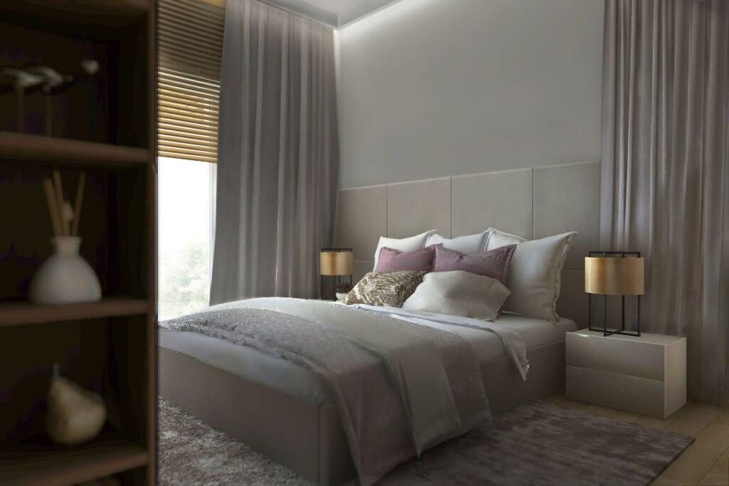 Wizualizacja sypialni, widok na łóżko - apartament w Rzeszowie, projekt wnętrz, architekt wnętrz, architektura wnętrz, projektowanie wnętrz, Rzeszów