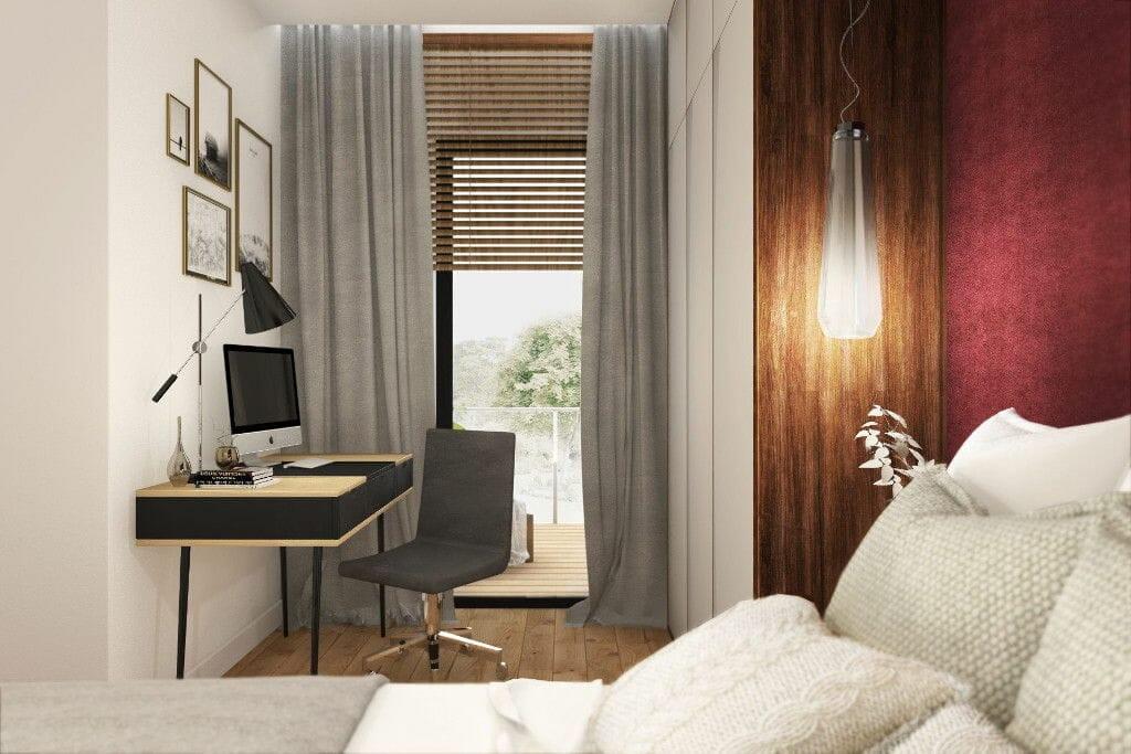 Wizualizacja sypialni, widok na łóżko i okno, projekty wnetrz, architekt wnetrz, architektura wnętrz