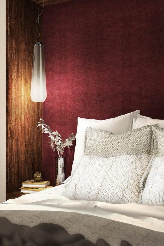 Wizualizacja sypialni,  projektowanie wnętrz,  projektowanie wnetrz,  projektant wnetrz, bordo, lampa wisząca