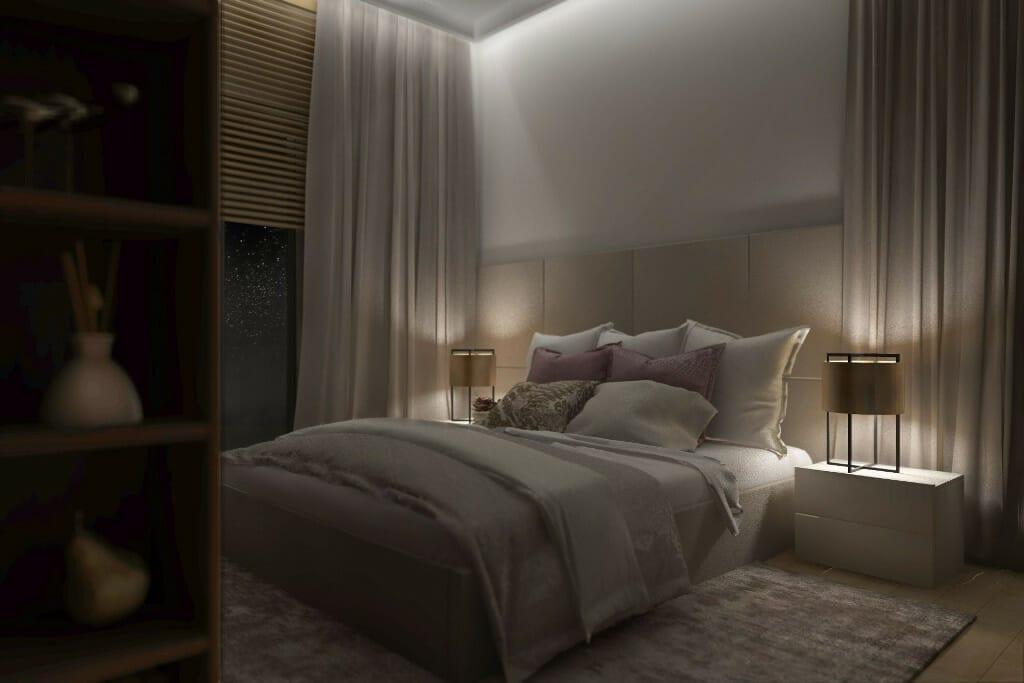 Wizualizacja sypialni, widok na łóżko wieczorem, przy łóżku stoliki nocne z lampkami moon, ściana tapicerowana, żaluzje drewniane w oknach - apartament w Rzeszowiearchitekt wnetrz, architektura wnetrz, architekt wnętrz, architektura wnętrz, viva design, interior design