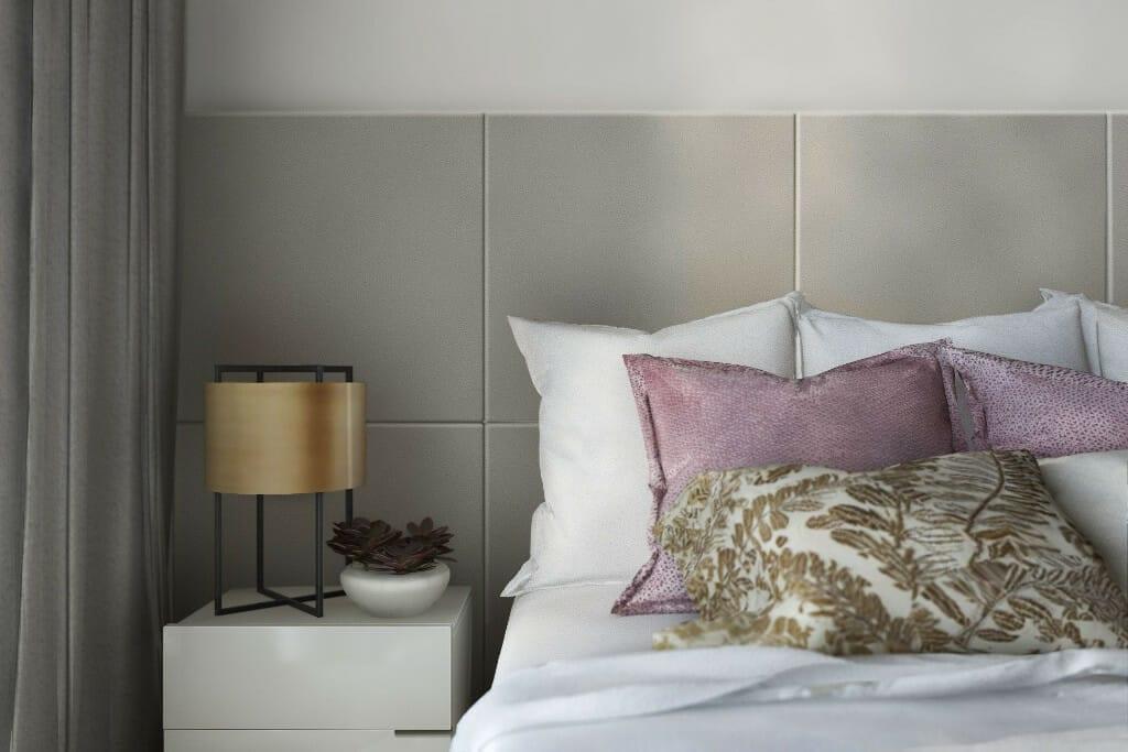 Wizualizacja sypialni, zbliżenie na łóżko - apartament w Rzeszowie, projekt wnętrz, architekt wnętrz, architektura wnętrz, projektowanie wnętrz, Rzeszów
