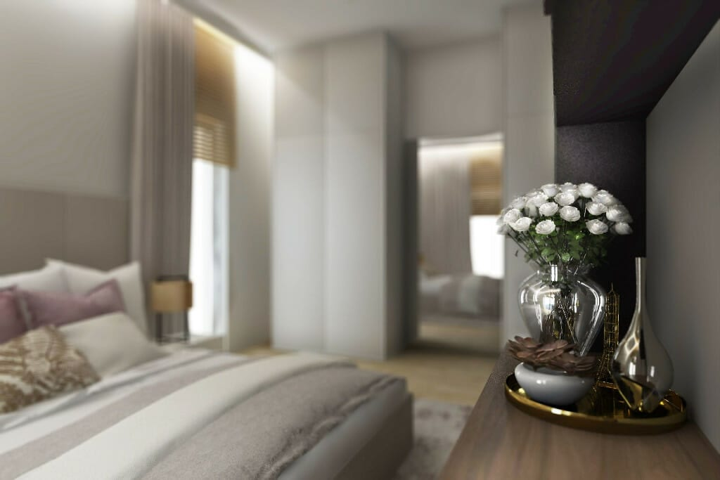 Wizualizacja sypialni, widok na okna - apartament w Rzeszowie, projekt wnętrz, architekt wnętrz, architektura wnętrz, projektowanie wnętrz, Rzeszów