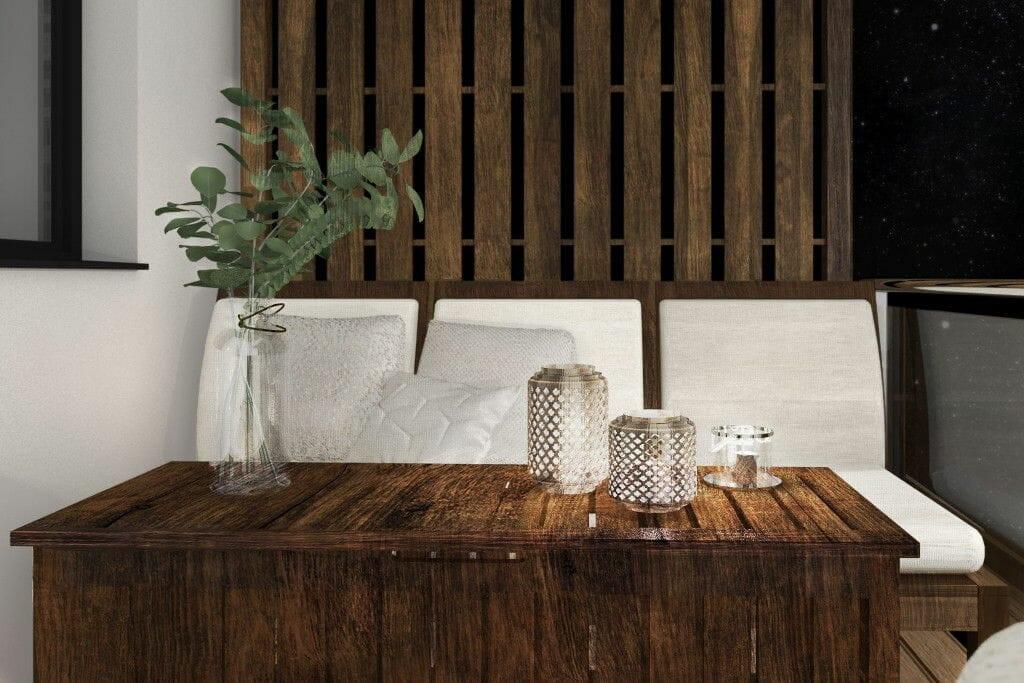 Wizualizacja tarasu, projektowanie wnętrz, projektant wnętrz, architekt wnętrz, architektura wnętrz, stolik tarasowy, fotel tarasowy, zabudowa drewniana