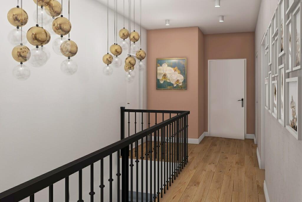 projektowanie wnętrz pod klucz, wizualizacja holu na piętrze