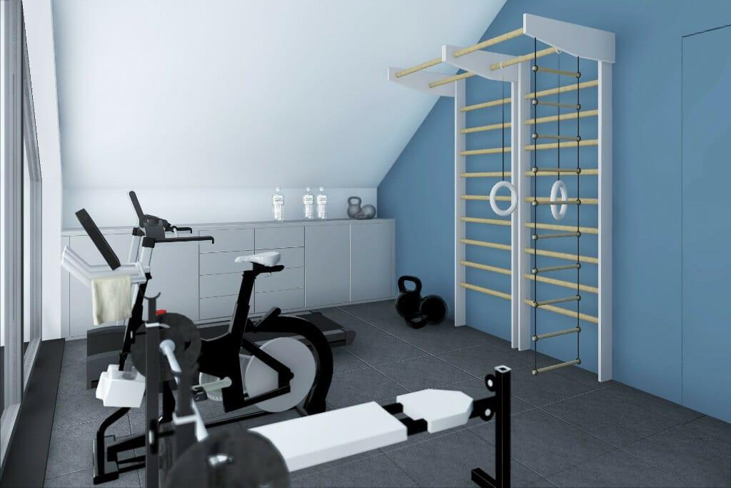 Projekty wnętrz Rzeszów, wizualizacja siłowni w domu jednorodzinnym pod Rzeszowem, Krakow, architektura wnętrz, interior design, projektowanie wnetrz, pod klucz, projektant wnetrz