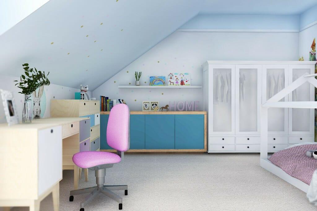 projektant wnętrz Rzeszów, wizualizacja wnętrza pokoju dziewczynki w rezydencji obok Rzeszowa, architekt wnetrz, Warszawa, projektant wnętrz, projekty wnętrz, architektura wnętrz, projektowanie wnętrz