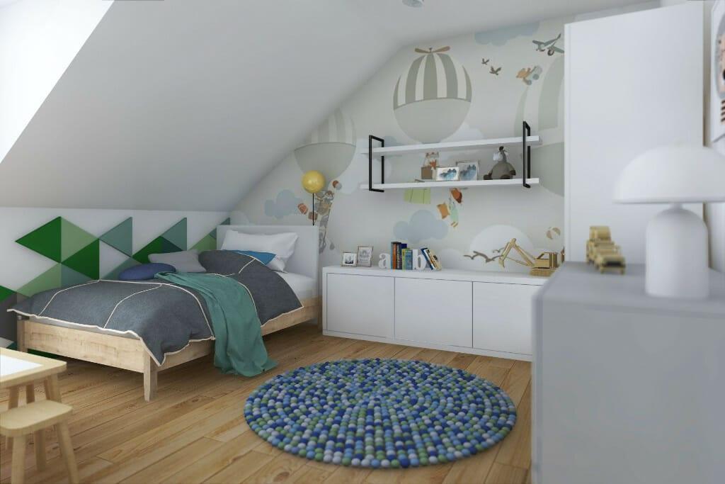 architekt wnętrz, wizualizacja pokoju syna w domu jednorodzinnym pod Rzeszowem, projektowanie wnetrz, Krakow, Warszawa, interior design, Rzeszów, architektura wnętrz