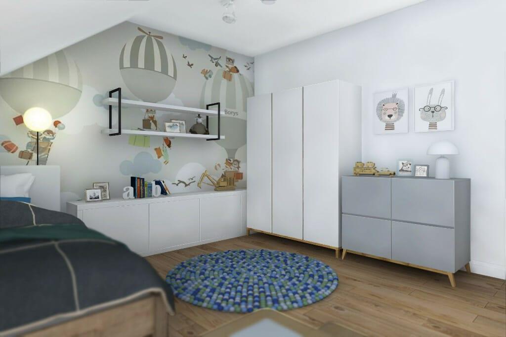Rzeszów, projektowanie wnętrz, wizualizacje pokoju syna w domu jednorodzinnym 300 m2 pod Rzeszowem, projektant wnętrz, architektura wnętrz, architektura wnetrz, Warszawa, projektant wnetrz, Rzeszow