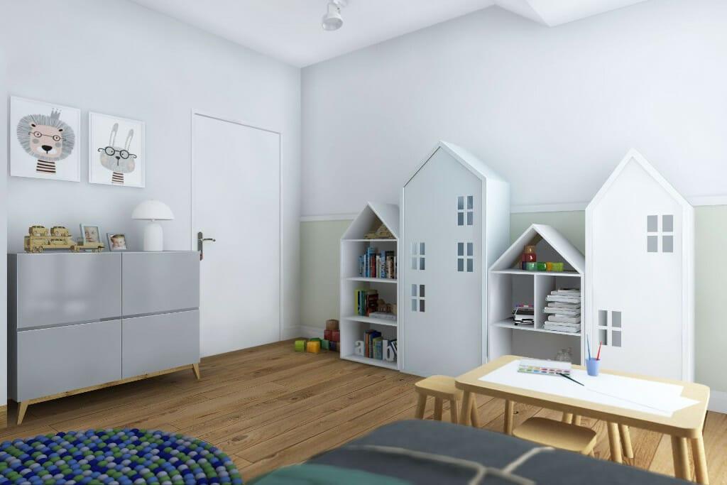 architetkura wnętrz Warszawa, wizualizacja pokoju chłopca w domu jednorodzinnym pod Rzeszowem, architekt wnetrz, projektant wnętrz, pod klucz, Rzeszów, projektowanie wnętrz, projektant wnetrz