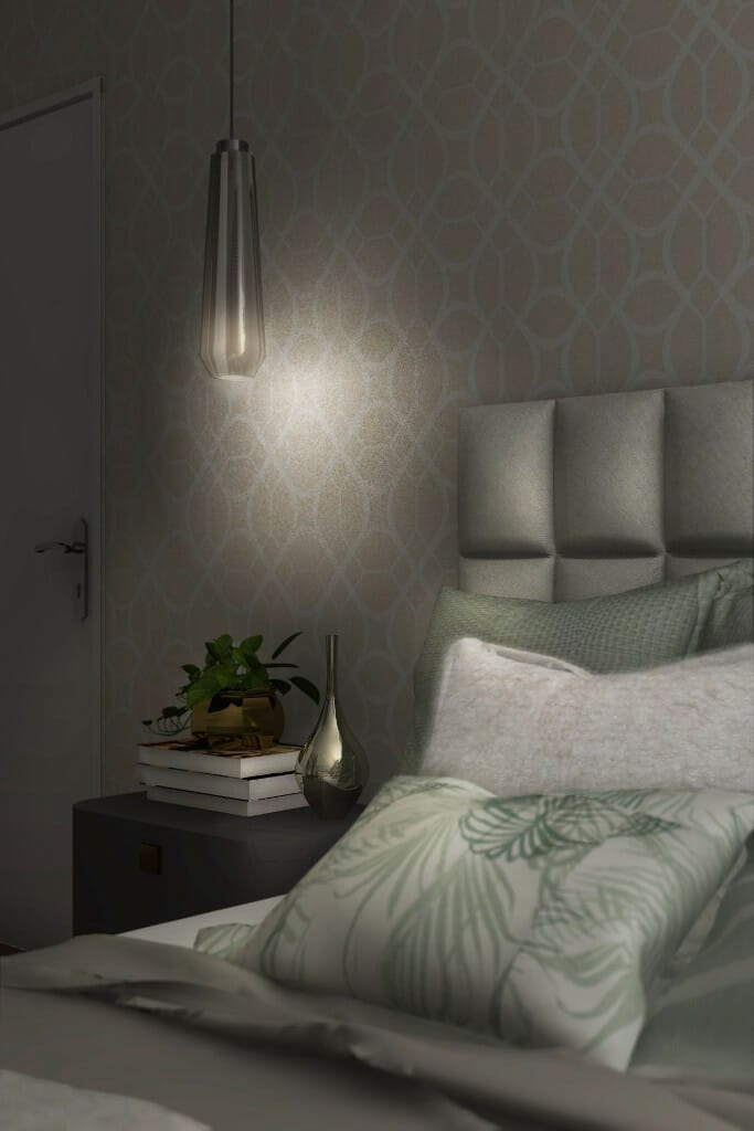architekt wnętrz Rzeszów, projekt wnętrz domu pod Rzeszowem, wizualizacja sypialni, zbliżenie na detale na łóżku, Warszawa, viva design, architektura wnętrz, architekt wnetrz, interior design, projektant wnętrz