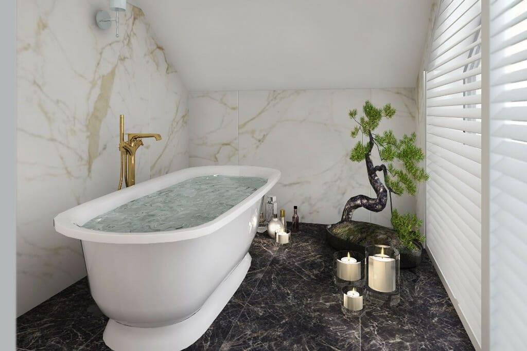 projekty wnętrz Rzeszów, wizualizacja łazienki, widok na wannę wolnostojącą, architektura wnętrz, projektowanie wnętrz, projektant wnetrz, Warszawa, architektura wnetrz, viva design