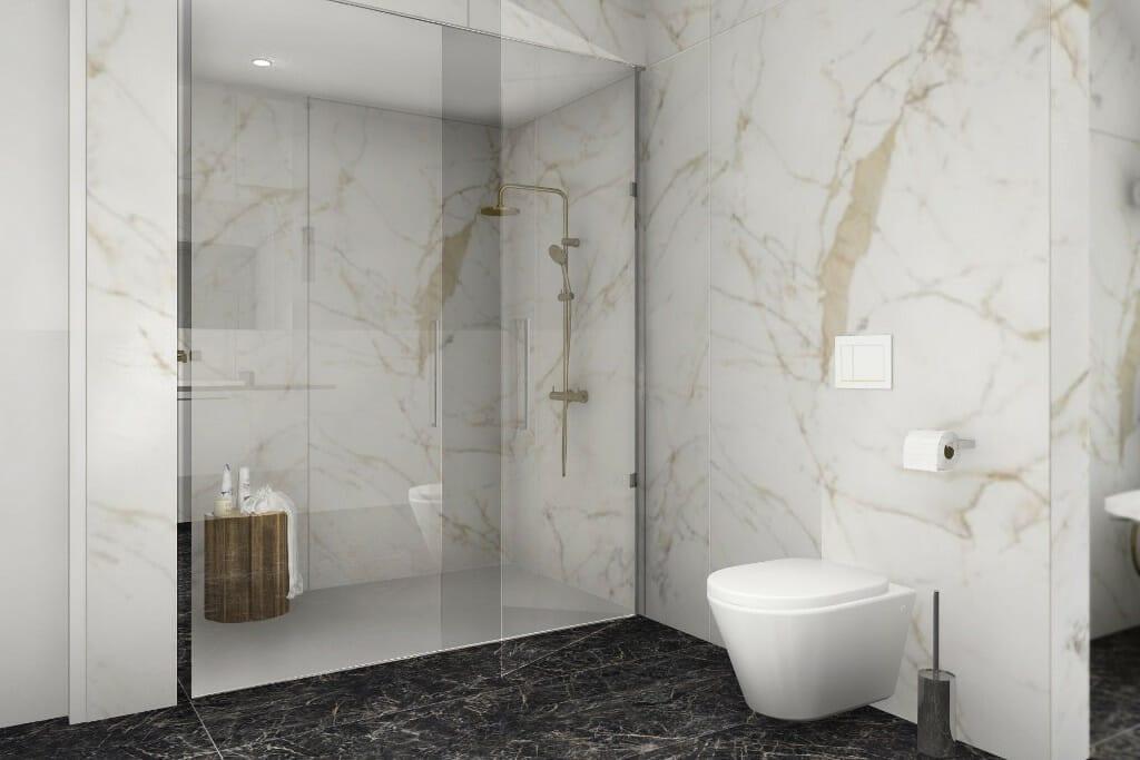 projekty wnętrz, dom w okolicach Rzeszowa, wizualizacja łazienki, widok na miskę WC i kabinę prysznicową, Kraków, projekty wnetrz, architekt wnętrz, interior design, architektura wnetrz, Warszawa