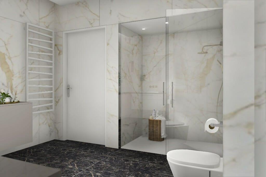 architekt wnętrz, wizualizacja łazienki, widok na drzwi oraz kabinę prysznicową, projektowanie wnetrz, pod klucz, projektant wnetrz, projektowanie wnętrz, architekt wnętrz, architektura wnętrz