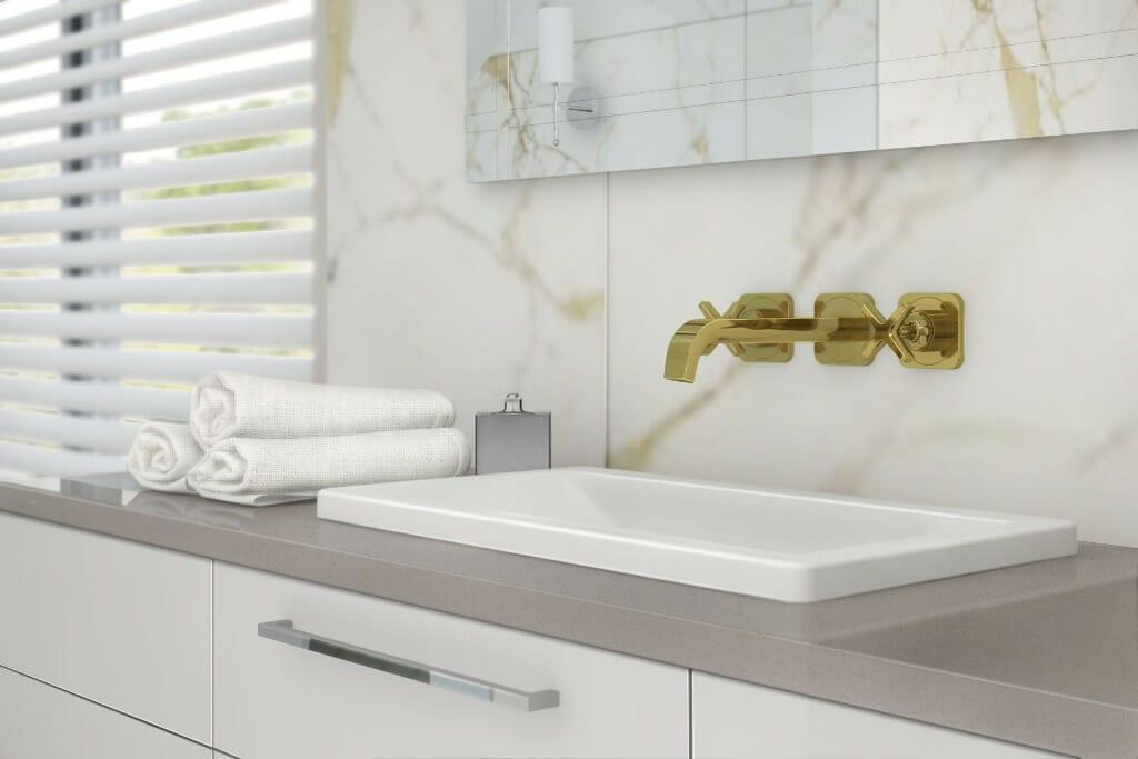 projektowanie wnętrz pod klucz, wizualizacja łazienki, zbliżenia na złoty kran, projektowanie wnetrz, pod klucz, projektant wnętrz, Rzeszów, architekt wnetrz, architektura wnętrz