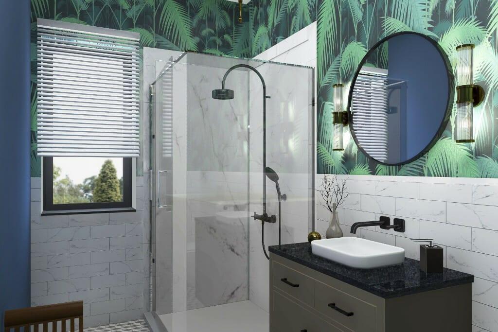 viva design, architekt wnętrz, wizualizacje wc, zbliżenie na kabinę prysznicową, Warszawa, projekty wnętrz, architekt wnętrz, projektowanie wnetrz, architektura wnetrz, projekty wnetrz