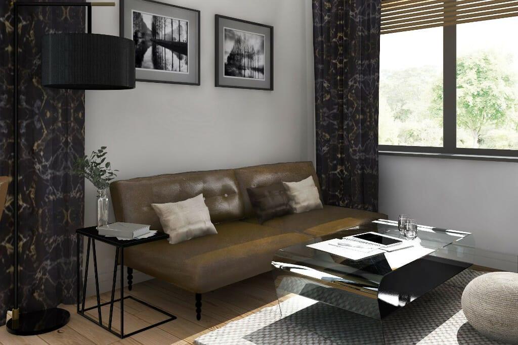 Rzeszów, projektant wnętrz, wizualizacja gabinetu Pana, dom nowoczesny pod Rzeszowem, Rzeszów, architekt wnętrz, architektura wnętrz, interior design, projekty wnętrz, viva design