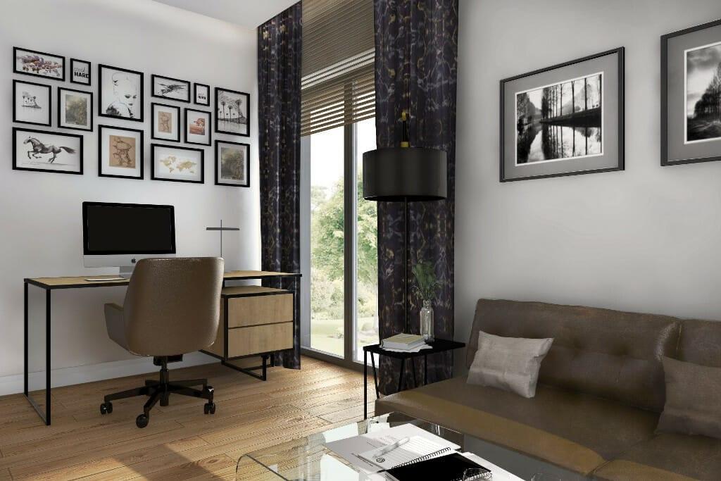 Kraków, Rzeszów, interior design, wizualizacja gabinetu Pana, dom pod Rzeszowem, projekty wnętrz, projektowanie wnętrz, viva design, projektant wnetrz, projektant wnętrz, Krakow