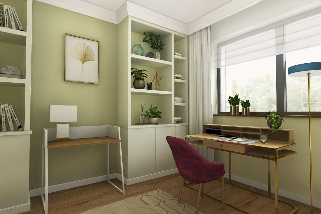 architekt wnętrz Rzeszów, wizualizacja wnętrz gabinetu żony, dom pod Rzeszowem, Krakow, interior design, projektant wnętrz, projekty wnetrz, projektowanie wnetrz, projektant wnetrz