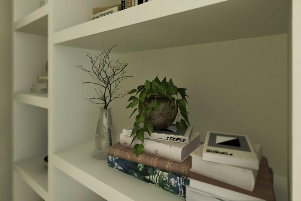 architektura wnętrz pod klucz, wizualizacje wnętrz gabinetu, zbliżenie na półkę z książkami, interior design, Kraków, projektowanie wnetrz, Krakow, viva design, architektura wnętrz