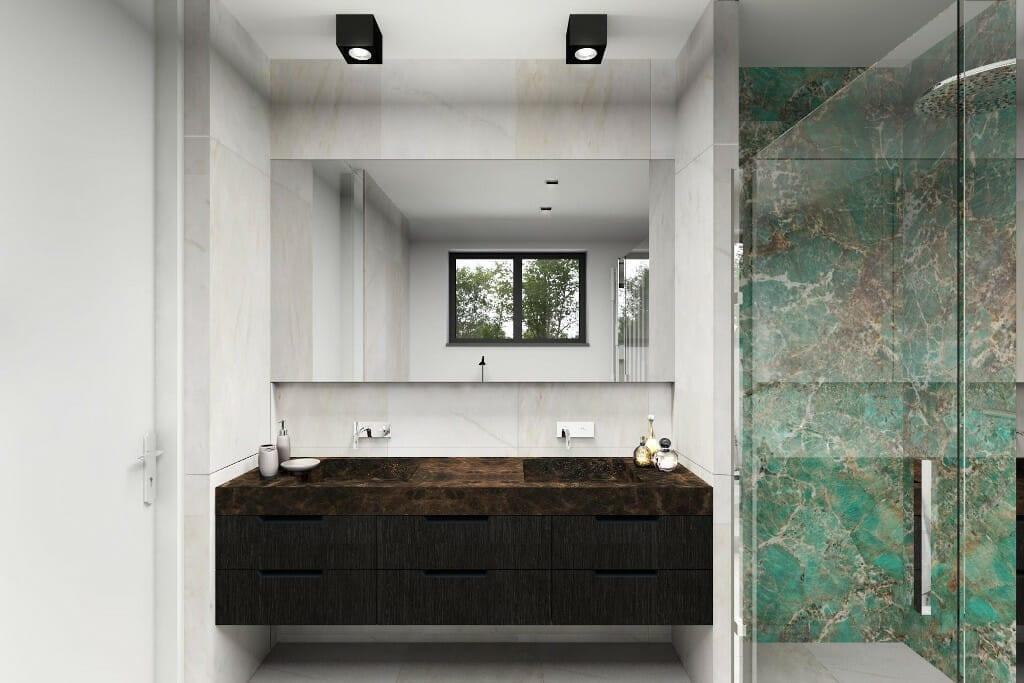 Wizualizacja wnętrza łazienki w domu jednorodzinnym w Rzeszowie. Projekt wnętrz wraz z nadzorem pod klucz realizuje pracownia projektowania wnętrz Viva Design z Rzeszowa. a zdjęciu widać szafkę z dużym lustrem - projekt indywidualny przygotowany przez Viva Design, do wykonania przez stolarza, architekt wnetrz, Rzeszow, projektowanie wnętrz, projekty wnetrz, interior design, projektowanie wnetrz