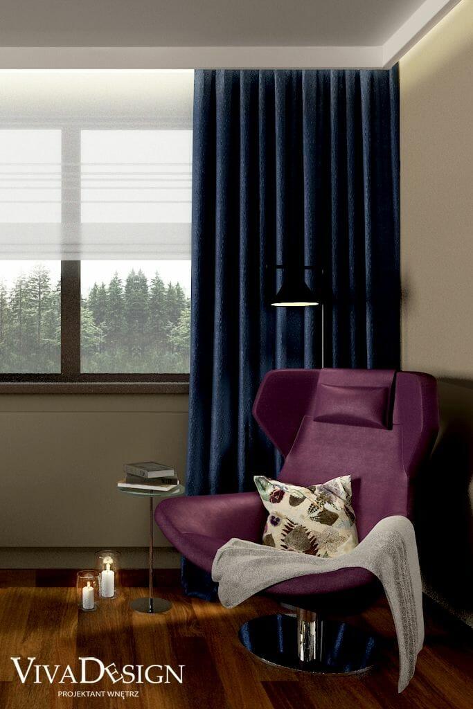 Wizualizacja salonu, widok na fotel B&B Italia Metropolitan '14 wersja z zagłówkiem, Kraków, projekty wnętrz, architekt wnetrz, architektura wnętrz, projektowanie wnętrz, pod klucz
