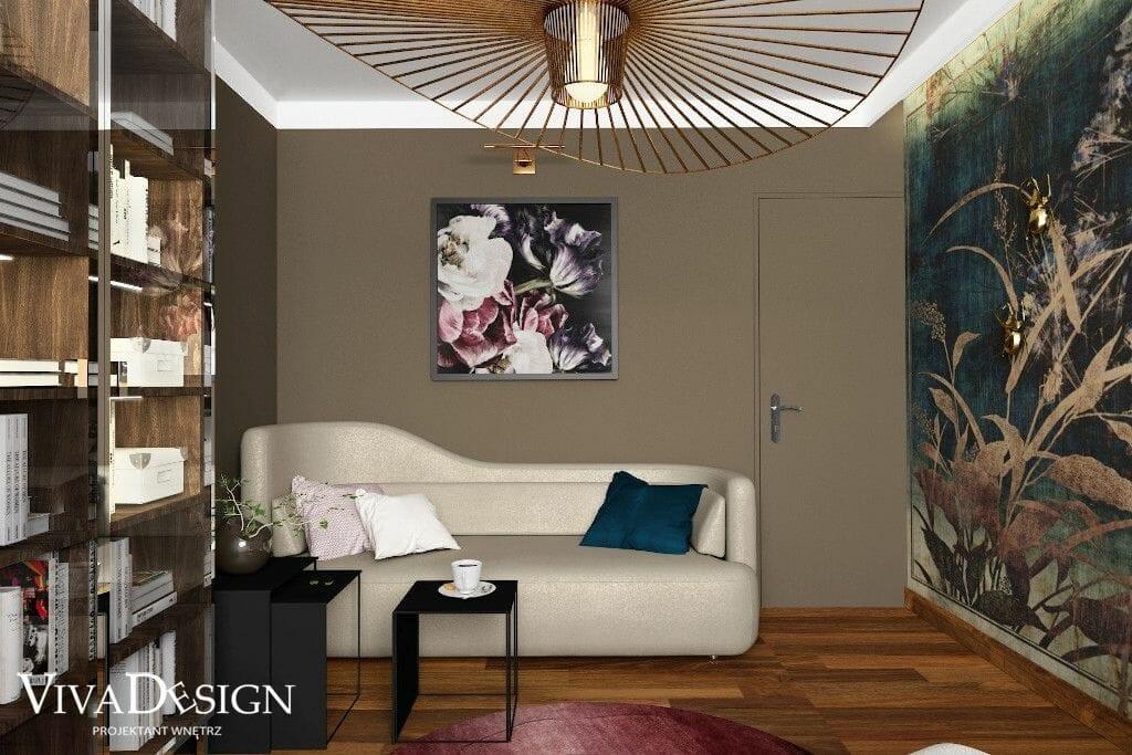 Wizualizacja gabinetu, widok na sofę Sofa BoConcept OTTAWA, Tapeta GLAMORA - A ROOM WITH A VIEW - NARA GLAR252A, projektowanie wnetrz, viva design, projekty wnętrz, architektura wnetrz, projektowanie wnętrz, Krakow