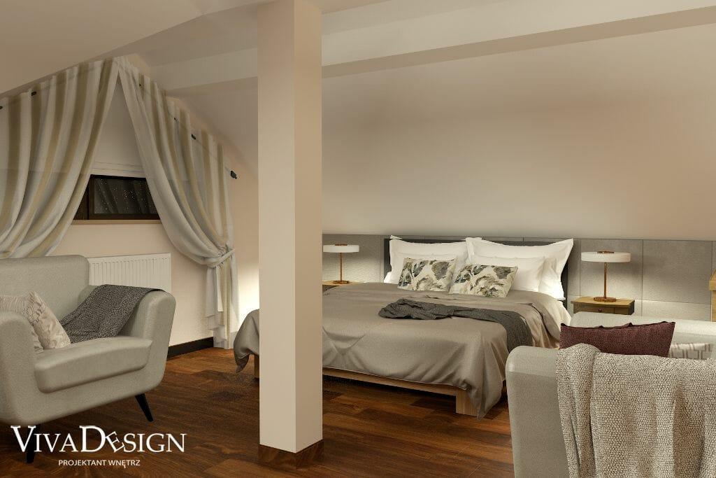 Wizualizacja sypialni, widok na łóżko, viva design, architektura wnętrz, architekt wnetrz, Krakow, pod klucz, architekt wnętrz