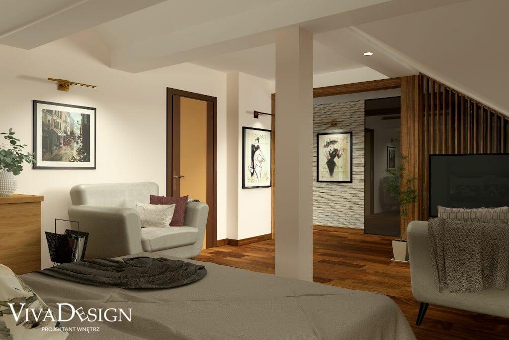 Wizualizacja dużej, przestronnej sypialni, widok na drzwi wejściowe, dwa fotele, projektant wnetrz, Kraków, viva design, projektowanie wnętrz, architekt wnętrz, projektant wnętrz