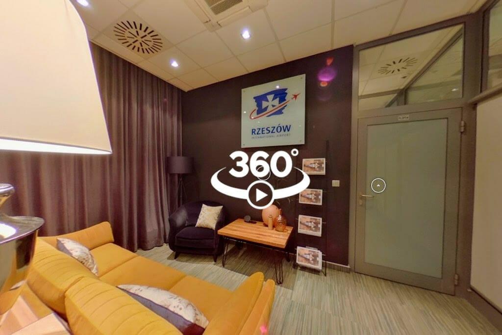Kliknij tutaj, aby obejrzeć zdjęcia 360 zrobione w salonikach VIP na lotnisku Jasionka w Rzeszowie, projekt wnętrz Viva Design z Rzeszowa