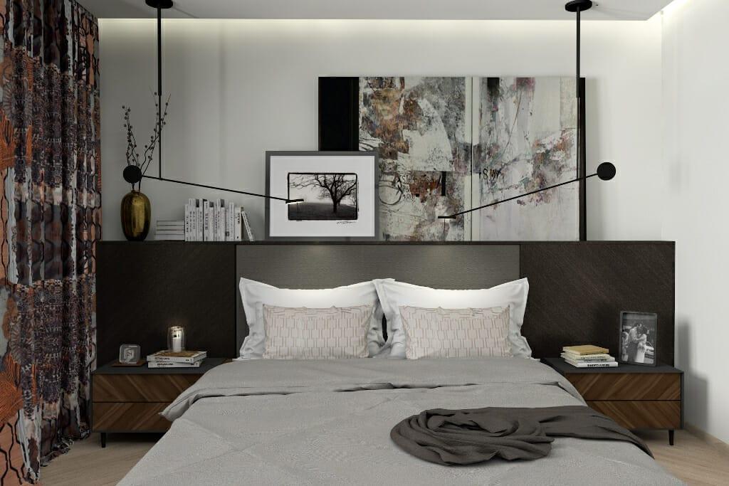 Wizualizacja sypialni - dom w Rzeszowie. Projekt wnętrz pracownia projektowania wnętrz Viva Design z Rzeszowa. Widok na łóżko zrobione na wymiar przez stolarza według projektu Viva Design. projektowanie wnetrz, Rzeszów, pod klucz, architekt wnetrz, interior design, projekty wnetrz