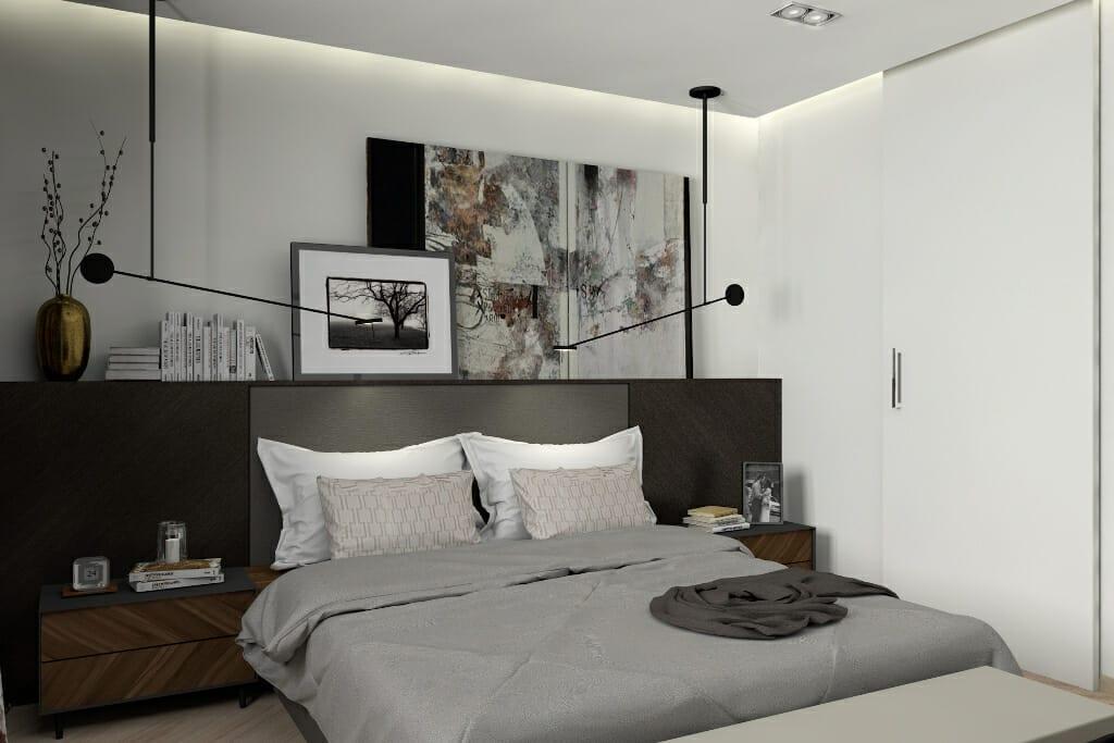 Wizualizacja sypialni w Rzeszowie. Projekt wnętrz wraz z nadzorem pod klucz realizuje pracownia Viva Design z Rzeszowa. interior design, projektowanie wnętrz, architektura wnętrz, architekt wnetrz, viva design, Rzeszow. Lampa wisząca invisible leds, na suficie aqform sleek 111x2. Meble wykonane według projektu Viva Design na wymiar.