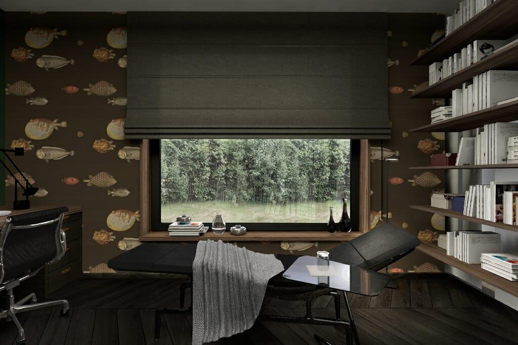 Wizualizacja wnętrz gabinetu w domu jednorodzinnym w Rzeszowie, widok na ścianę z oknem. Projekt wnętrz z nadzorem pod klucz - pracownia projektowania wnętrz Viva Design z Rzeszowa. projektant wnętrz, viva design, architekt wnetrz, architektura wnętrz, Krakow, architekt wnętrz