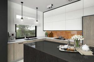 Wizualizacja kuchni w domu jednorodzinnym w Rzeszowie. Projekt wnętrz pracownia Viva Design z Rzeszowa. Na wizualizacji widzimy kuchnie z wyspą. Na wyspie czarny granit a na blacie biały granit. projektant wnętrz, architekt wnętrz, projekty wnętrz, Warszawa, architektura wnętrz, interior design
