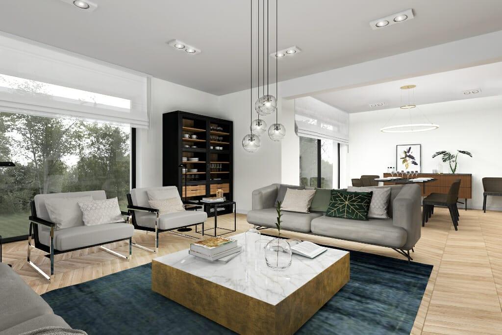 Wizualizacje salonu - widok na kuchnię. Projekt wnętrz wraz z nadzorem pod klucz realizuje pracownia Viva Design z Rzeszowa. Na zdjęciu sofy, fotele wraz ze stolikiem kawowym, projekty wnętrz, Rzeszow, projektowanie wnetrz, architektura wnętrz, projektant wnetrz, Kraków