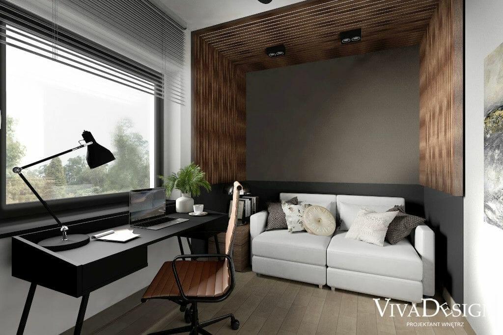 Wizualizacja gabinetu - dom w Rzeszowie, IKEA VALLENTUNA, ażurowa wnęka , biurko, fotel obrotowy, pod klucz, Rzeszow, architektura wnętrz, Rzeszów, architekt wnętrz, viva design