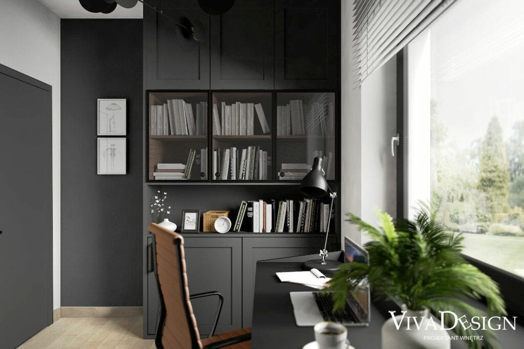 Wizualizacja wnętrz gabinetu, dom w Rzeszowie, projekt wnętrz pracownia projektowania wnętrz w Rzeszowie, widok na regał, biurko i krzesło obrotowe, architektura wnetrz, interior design, projekty wnętrz, architekt wnętrz, projekty wnetrz, Rzeszów