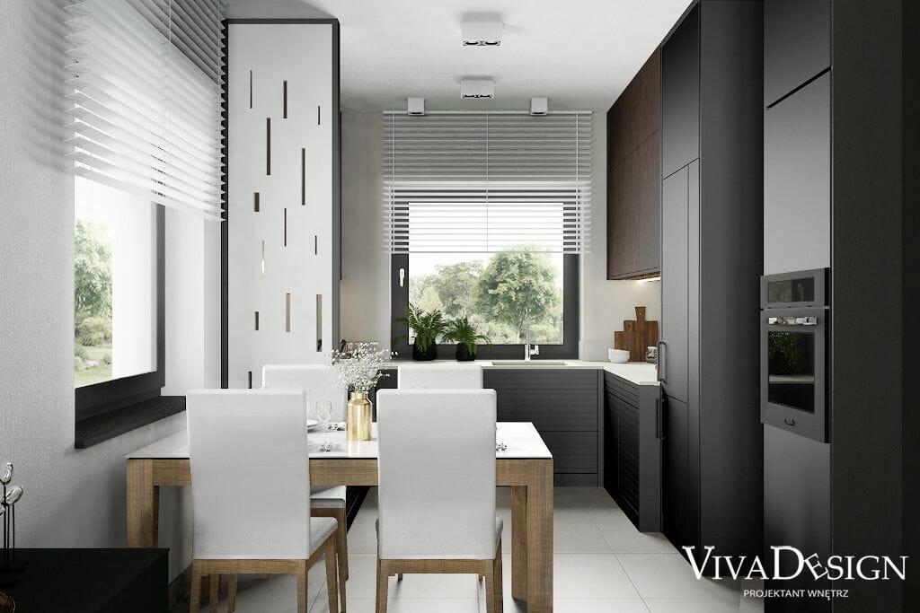 Wizualizacja kuchni - dom jednorodzinny w Rzeszowie, widok na strefę do spożywania posiłków dla czterech osób, słupek z lodówką i piekarnikiem a także ażurową ścianą oddzielającą kuchnie od jadalni, projektant wnętrz, architektura wnętrz, architektura wnetrz, projektant wnetrz, pod klucz, projektowanie wnetrz