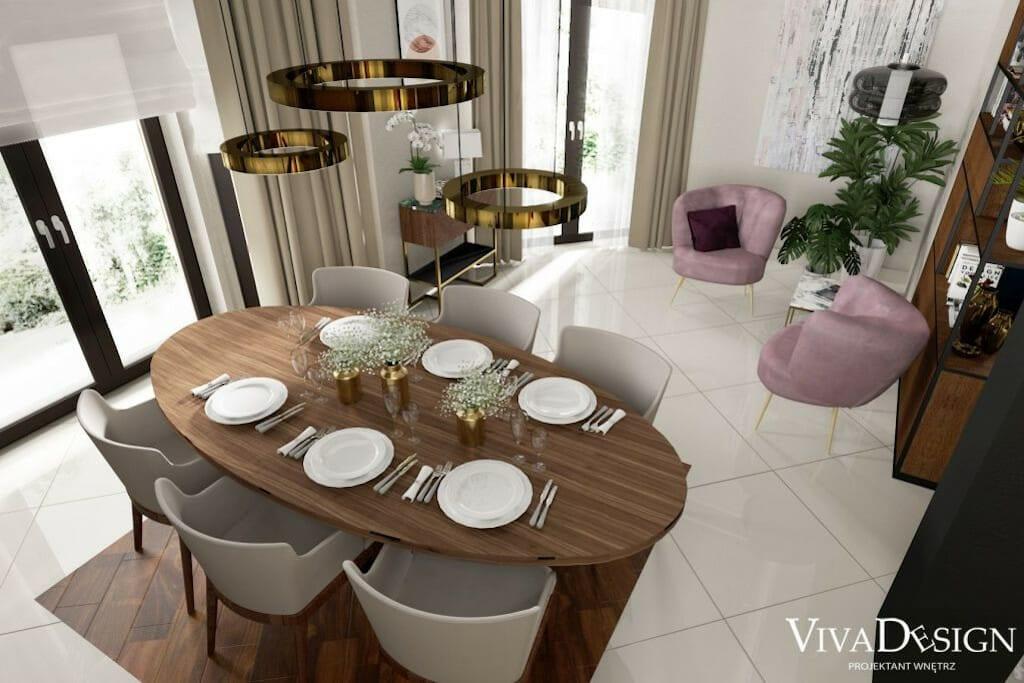 Jadalnia widok na stół w kształcie jaja, krzesła z oparciami, lampy w kształcie pierścieni, Henge Light Ring Wall 40, meble na wymiar, Rzeszow, architektura wnetrz, projektowanie wnetrz, inspiracje, projektant wnętrz, pod klucz