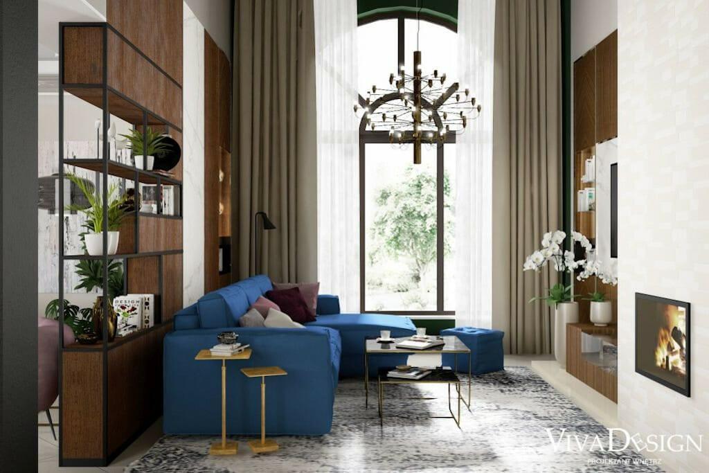 Salon domu z antresolą, widok na wysokie okno, FLOS : LAMPA WISZĄCA 2097/50 BRASS, kolor czarno-złoty, Stolik kawowy Stella, nogi złote blat czarny marmur, meble wykonane na wymiar