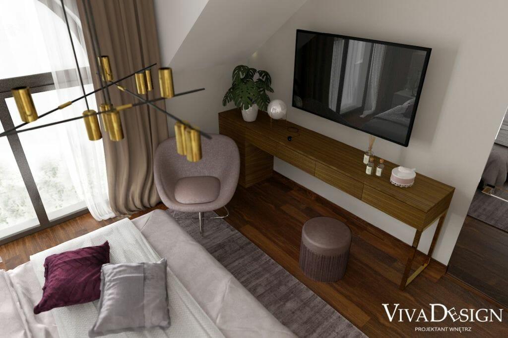 Sypialnia domu w Leżajsku koło Rzeszowa, widok na toaletkę robioną na wymiar z telewizorem, projekty wnętrz, aranżacje, architekt wnetrz, architekt wnętrz, projektant wnetrz, projektant wnętrz, Dywan z wiskozy Jane, kolor liliowy