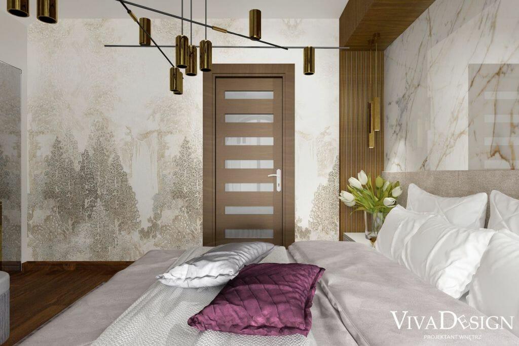 Sypialnia, zabudowa drewniana wokół łóżka, Tapeta Khroma Misuto Sansui Sand DGMIS1011-DGMIS1012, QUPET mini 37 LED M930 36° zwieszany złoty struktura, 50527-M930-F1-00-19,
